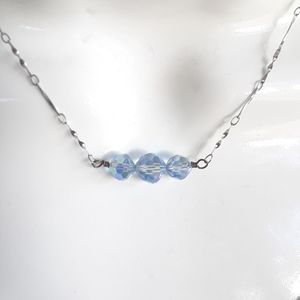 Vintage blue crystal bead and sterling necklace